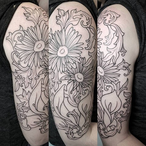 flower and filigree outline