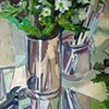 Still life with Chrysanthemums, mirror & brushes