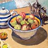 Apples, tea & coffee pots.