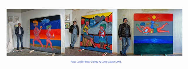 The Artist Gerry Gleason with the three panels Peace Conflict Peace Trilogy  2014.