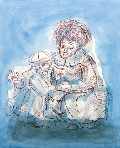 'Granny's Delft Blue'. after Rembrandt. Gleason. 2017.