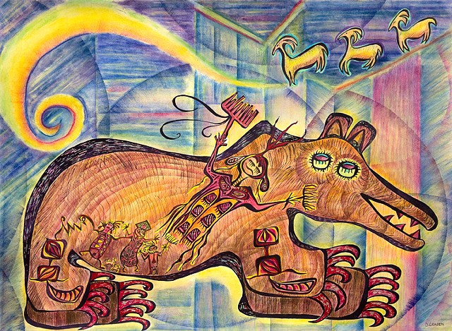 Bear Spirit Bau House style with deer and trance beings petroglyphs by Dorothy Graden