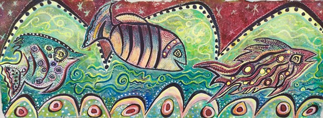Magical fish in sparkling waters