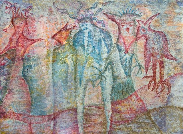 Images from another reality. Wandering spirits in pastel with bird by Dorothy Graden