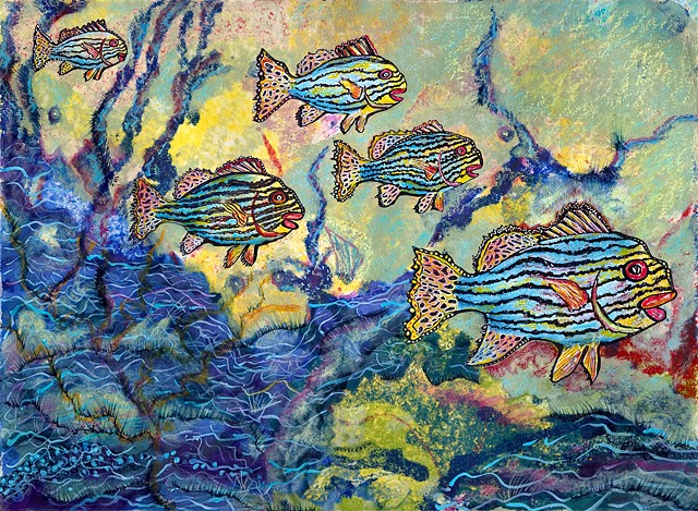Oriental Sweetlips and  coral reef