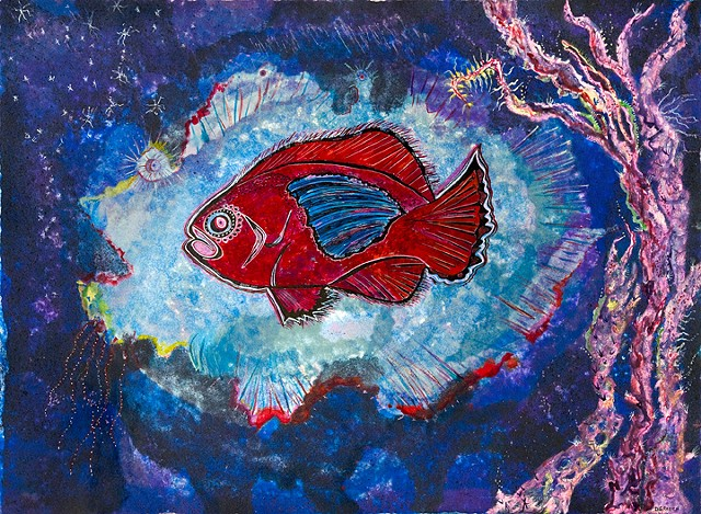 Red fish inside ghost fish with coral  by Dorothy Graden