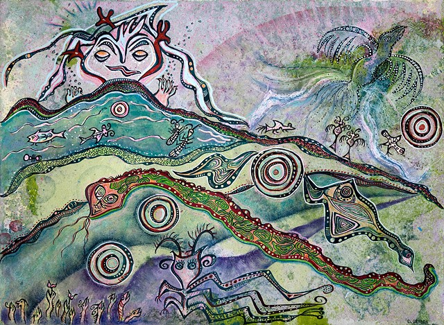 flying phoenix,snake,lake animals,fish,garden eels in a mystical landscape