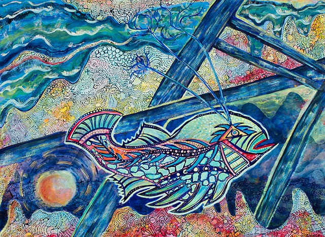 Colorful fish with Asemic writing with coral reef and dock dorothygraden.com