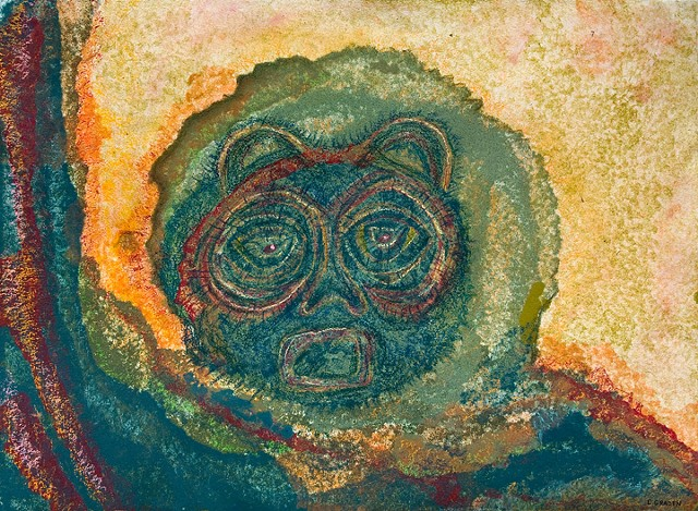The Shaman  Bear Spirit  TeacherTransmits Wisdom and Knowledge. pastel work by Dorothy Graden