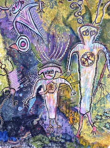 A cave art petroglyph with spirit guides by  Dorothy Graden
