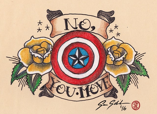 Vintage Captain America Tattoo Design