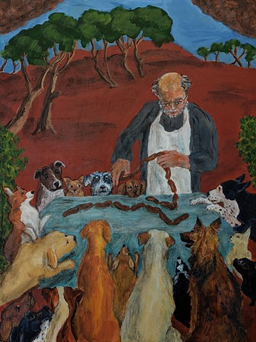 pandemic art, covid19 art. dogs, sausage, saint, butcher, landscape, parable