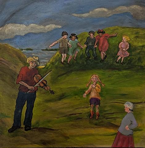 pandemic art, covid19 art. folk music, fiddle. fiddler, children,  seascape, beautiful,