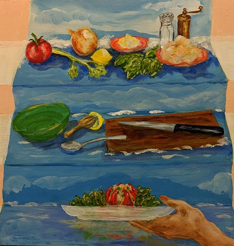 pandemic art, covid19 art. salad, summer, waves, tropical, tomato, tuna, culinary beautiful,
