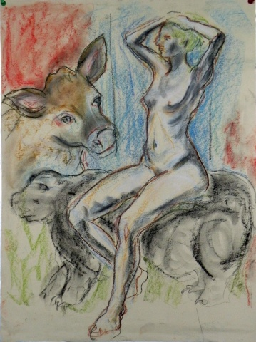 Naked Lady with Cow