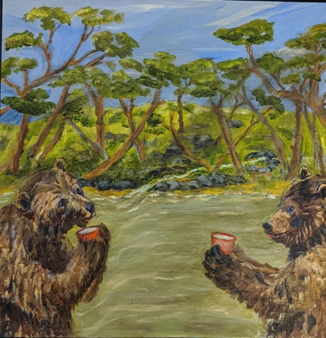 pandemic art, covid19 art. bears, tea, tea party,  river, woods , beautiful,