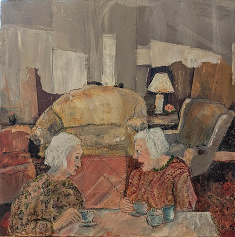 pandemic art, covid19 art. teatime. vulnerable population, elderly,  beautiful,