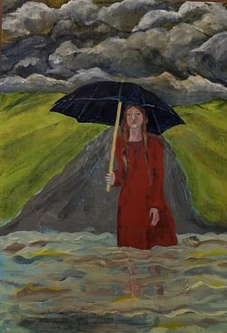pandemic art, covid19 art. storm, umbrella  beautiful,