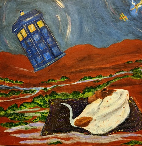 pandemic art, covid19 tardis, dog on flying carpet, biplane, angel,
