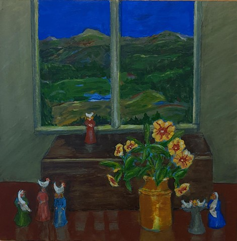 pandemic art, covid19 art. clay whistle, ocarina, women, chickens, poultry, Green Mountains, Vermont, view beautiful,