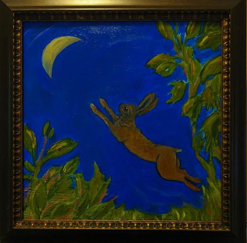 pandemic art, covid19 art. moon, leaping hare, night, cobalt blue,  beautiful,
