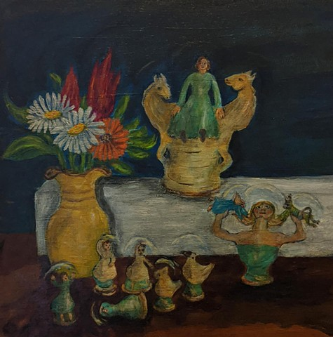 pandemic art, covid19 art.whistles, night, flowers, figurines, still life, beautiful,