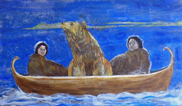 two women in a boat with a bear at night on open water.
