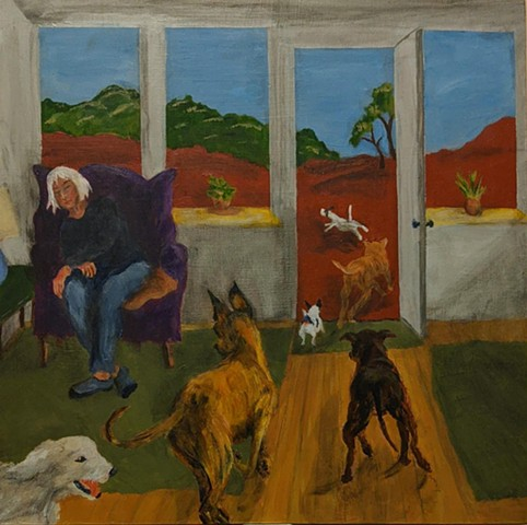 pandemic art, covid19 art. running dogs, sleeping woman, beautiful,