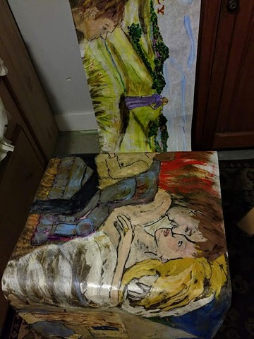 panorama, scroll, painting, crankie, art