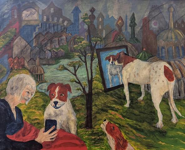 pandemic art, covid19 art. dog, beautiful, imagined worlds, fantasy