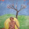 Naked Lady Seated under Bottle Tree