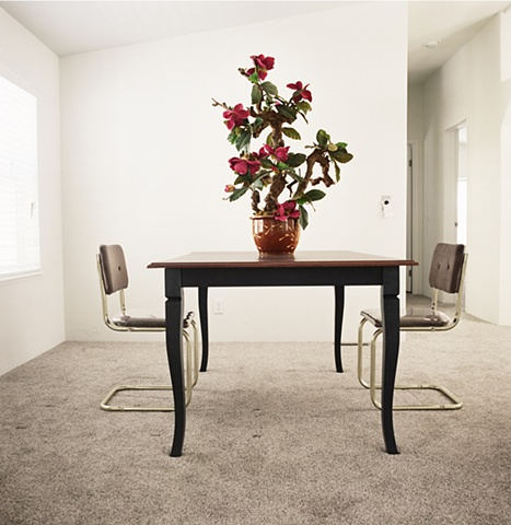 Plastic magnolias on dining room table, manufactured display home, © Amy Eckert www.amyeckertphoto.com