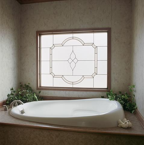 Whirlpool bath in manufactured display home, © Amy Eckert www.amyeckertphoto.com