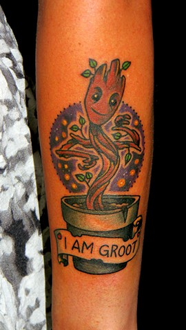 Guardians of the Galaxy Groot tattoo on forearm in color by Berol Bong Su from Copper Fox Tattoo Company in Kissimmee florida