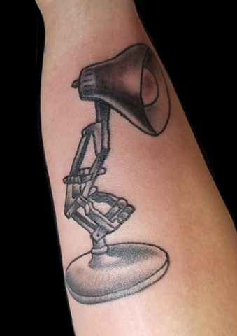Pixar lamp by Gina Marie of copper Fox tattoo