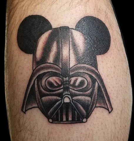 Darth Vader Mickey Mouse mashup Disney Star Wars Tattoo by Gina Marie of Copper Fox Tattoo