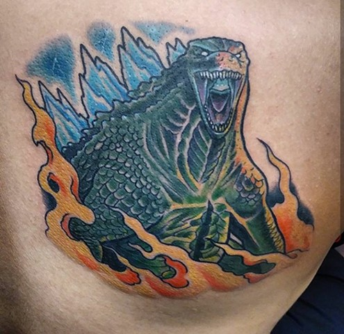 Godzilla, Godzilla tattoo, legendary godzilla, king of the monsters, kaiju, kaiju tattoo, gojira, gojira tattoo, Kissimmee, Kissimmee tattoo, tattoo shop, tattooing