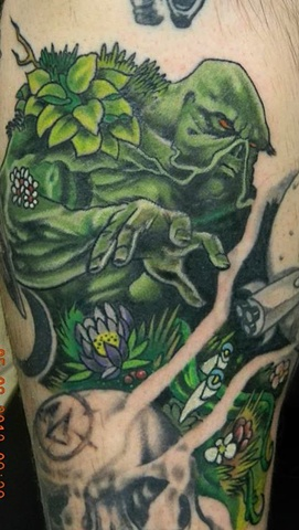 Swamp thing, swamp thing tattoo, tattooing, tattoo shop ,Kissimmee tattoo shop, comic book characters, Kissimmee, copper Fox tattoo