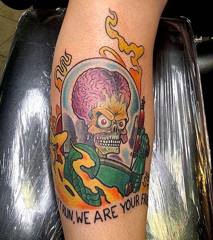 Mars Attacks, Martian, Mars attacks Martian, aliens, alien invasion, sci fi movies, sci fi tattoos, tattoos, tattoo shop, Kissimmee tattoo shop, tattoo shops in Kissimmee