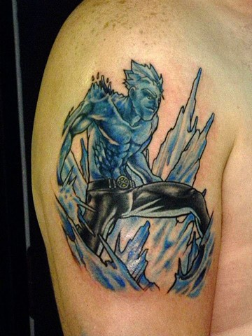 Marvel Comic Character, Iceman, iceman tattoo, Bobby drake tattoo, tattooing, tattoo shop, Kissimmee, Kissimmee tattoo