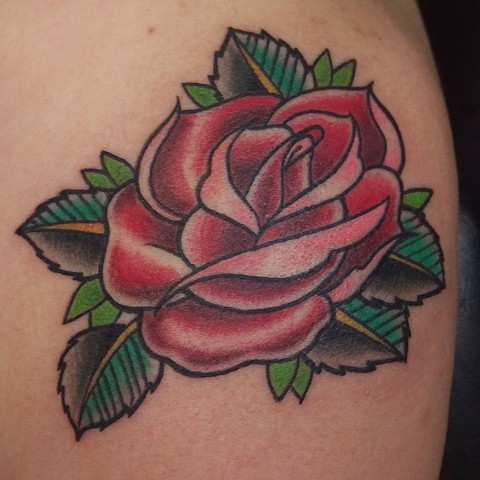 Custom rose on upper arm by Gina Marie of Copper Fox Tattoo Company of Kissimmee Florida