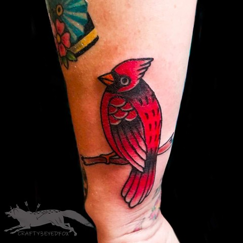 Tradtional style Red Cardinal by Gina Marie of Copper Fox Tattoo in Kissimmee Florida