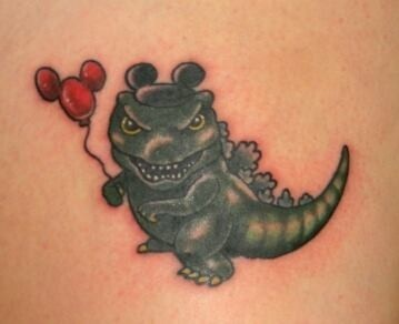 Godzilla, Godzilla tattoo, Disney, balloons, Disney balloons, tattoo shop, Kissimmee, Kissimmee tattoo shop, tattooing