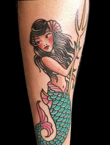 traditional Mermaid on lower arm by Gina Marie of Copper Fox in Kissimmee Florida