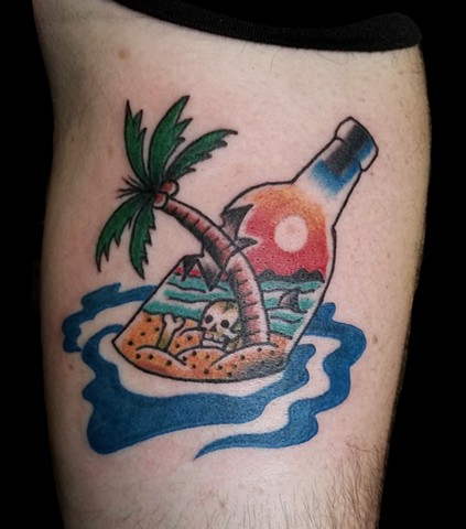 Traditional tattoo or beach scene in a bottle by Gina Marie of Copper Fox Tattoo