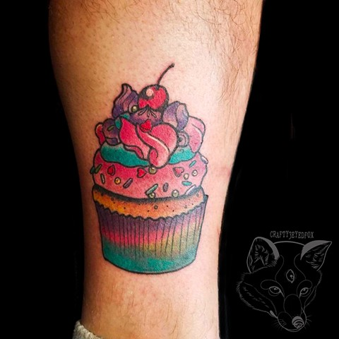 Lisa Frank cupcake, colorful tattoo, girly tattoo, bright tattoo, food tattoo by Gina Marie of Copper Fox Tattoo in Kissimmee Florida