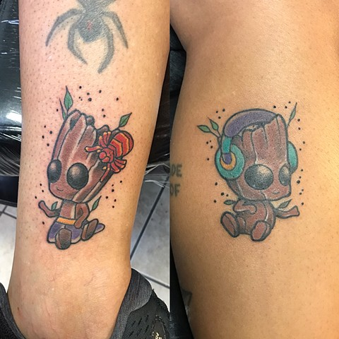 Groot, groot tattoo, Disney tattoo, goth tattoo, guardians of the galaxy, guardians of the galaxy tattoo, tattoo shop, tattooing, Kissimmee tattoo shop, comic book character tattoos