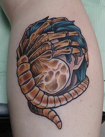 Facehugger, facehugger tattoo, aliens, xenomorph, aliens tattoo, tattooing ,tattoo shop, tattoos, Kissimmee tattoo,