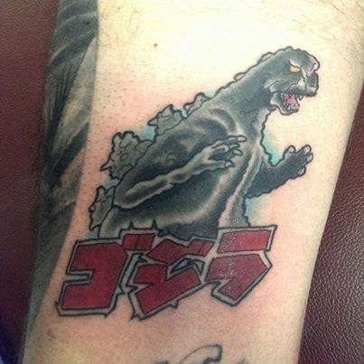 Neo Traditional Color Godzilla Tattoo on inner thigh by Gina Marie of Copper Fox Tattoo Company in Kissimmee Florida