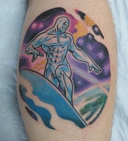 Silver Surfer, silver surfer tattoo, marvel characters, superheroes, superhero tattoo, space tattoo, kissimmee tattoo shop, tattoo shop, tattooing